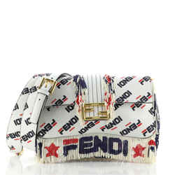 Mania Logo Baguette Printed Leather with Beaded Fringe