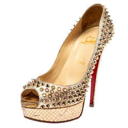 Christian Louboutin Metallic Gold/Rose Gold Leather Lady Peep Toe Spike