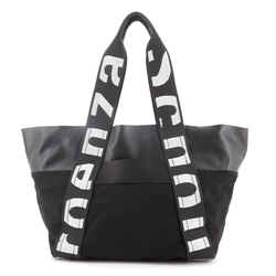 Logo Shopping Tote Canvas and Leather East West