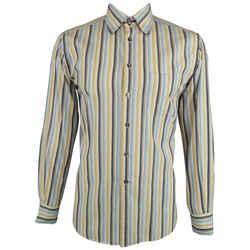 Dolce & Gabbana Size L Blue & Khaki Stripe Cotton Button Up Long Sleeve Shirt