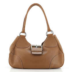 Buckle Flap Shoulder Bag Vitello Daino Medium