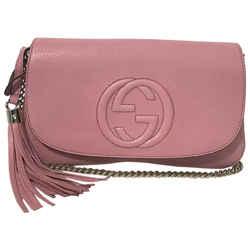 New Gucci Pink Leather Soho Tassel Crossbody Shoulder Bag