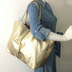 Tiffany & Co. Champagne Gold Reversible Tote with Pouch 870853