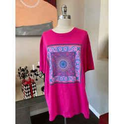 Versace Size 2XL Pink Blue Floral  T-shirt 2676-90-51421