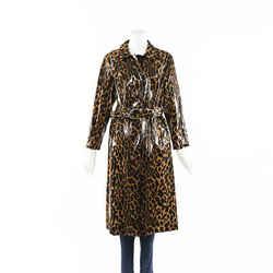 Miu Miu Cire Animalier Brown Coated Cotton Trench Coat SZ 38