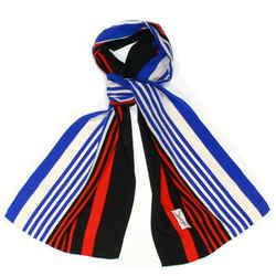 Saint Laurent - Vintage Ysl Scarf - Blue Red Black White Stripe Silk Rectangle