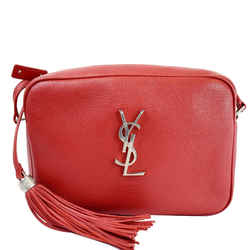 YVES SAINT LAURENT Lou Camera Monogram Leather Shoulder Bag Red