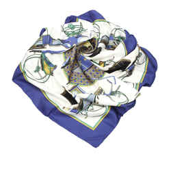 Blue Hermes Les Voitures a Transformation Silk Scarf