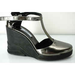 Prada Metallic Specchio Leather Wedge Mary Janes Sandals Size 38.5 New $850