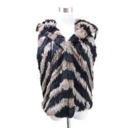 Zadig & Voltaire Black and Tan Rabbit Fur Vest Sz M