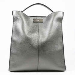 Fendi Peekaboo X-Lite Tote Bag Metallic Silver Leather