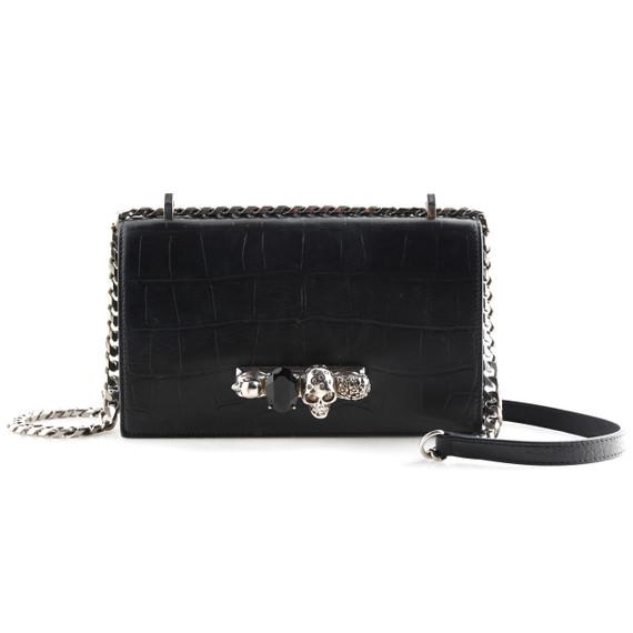 Alexander McQueen Shiny Croc-Embossed Jeweled Shoulder Bag