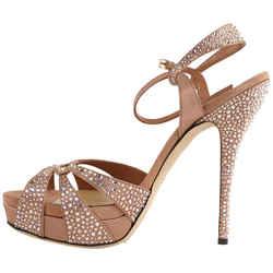 Gucci Sz 40 296269 Cystal Strappy Heels 477ggs34