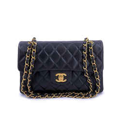 Chanel Vintage Black Small Classic Double Flap Bag Lambskin 24k GHW