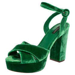 Dolce & Gabbana Green Velvet Keira Platform Ankle Wrap Sandals Size 40