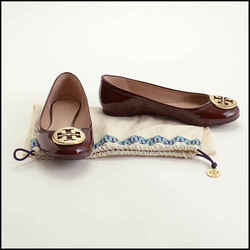 Rdc11676 Authentic Tory Burch Burgundy Patent Leather Ballet Flats Size 7