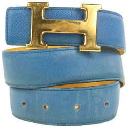 Hermes 32mm Blue x Yellow x Gold Reversible H Logo Belt Kit 862746