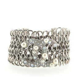 CC Multi-Chain Bracelet Metal with Crystals and Faux Pearls