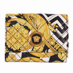 NEW $675 VERSACE Tribute Yellow SAVAGE BAROCCO Quilted Leather FRENCH WALLET NIB