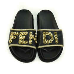FENDI: Black, Leather & Gold Spiked Logo Flat Sandals/Slides Sz: 7.5M