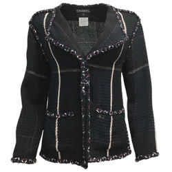 Chanel Navy Blue / Black Cotton and Wool Tweed Jacket