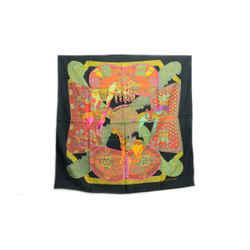 Authentic Hermes 100% Silk Scarf Art Des Steppes Black Orange Faivre Vintage 90cm Carre