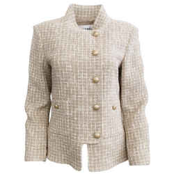 Chanel Tan and White Tweed Zip Blazer