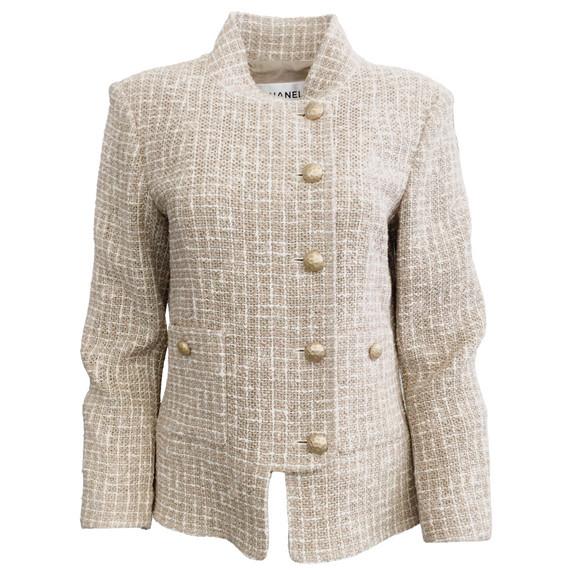 Chanel Tan and White Tweed Zip Blazer