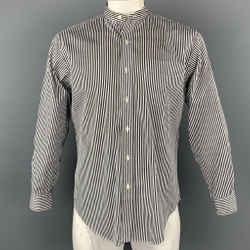 RALPH LAUREN Size M Black & White Stripe Cotton Nehru Collar Shirt