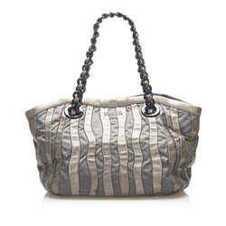 Vintage Authentic Prada Gray Nylon Fabric Tessuto Chain Tote Bag Italy