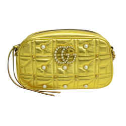 Authentic Gucci Metallic Leather Zip Quilted Purse Laminated Gold Pearl Studded Bag