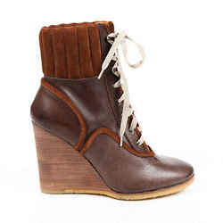 Chloe Boots Brown Quilted Suede Leather Lace Up Wedge Ankle SZ 38