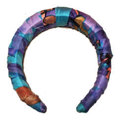 Hermes Handmade Vintage Blue Concerto Silk Scarf Wrapped Padded Headband Crown