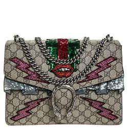 Gucci Beige GG Supreme Canvas Medium Sequin/Crystal Embellished Dionysus Shou...