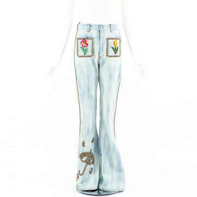 Gucci Jeans Denim Floral Embroidered Studded High Waist Flared SZ 28