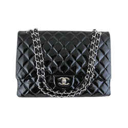 Chanel Maxi Jumbo Black Patent 2.55 Classic Flap Silver Hardware Evening Bag