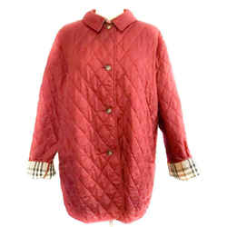 "BURBERRY ""Constance"": Red & ""Nova Check"" Diamond Quilted Jacket Sz: 12"