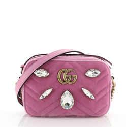 GG Marmont Shoulder Bag Crystal Embellished Matelasse Velvet Mini