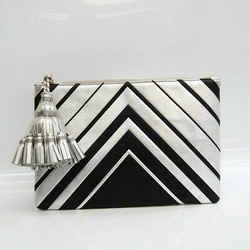 Anya Hindmarch Georgiana Lg Diamond Tassel Charm Women's Leather Clutch BF530008