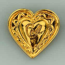 Vintage Christian Lacroix  Gold Tone Metal Heart Pin