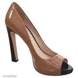 Miu Miu Patent Leather Black & Tan Peep Toe Platform Pump Shoe 38 Do Peek!