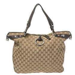 Gucci Beige/Ebony GG Canvas and Leather Large Icon Bit Tote