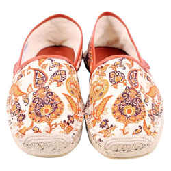 Gucci Orange Paisley Espadrilles Slip Ons Unisex Size 9w Flats Size: 9  Wide (c, D)