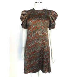 Erdem Multi-color Floral Silk Dress W/dramatic Slv Sz 4 Eu 40