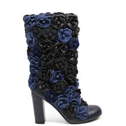 Chanel Black Blue Charcoal Leather Rosettes Boots Size 11