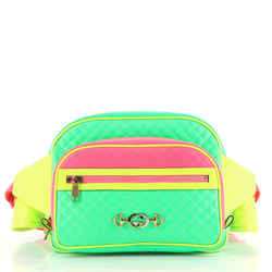 Neon Front Pocket Waist Bag Quilted Leather Large