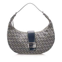Vintage Authentic Fendi Gray Zucchino Canvas Hobo Bag Bag Italy