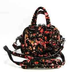 Coach Floral Pattern 21214 Women's Leather,Leather Shoulder Bag Black,M BF520263
