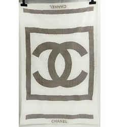 Auth Chanel Logo Blanket Beige Brown White Cotton