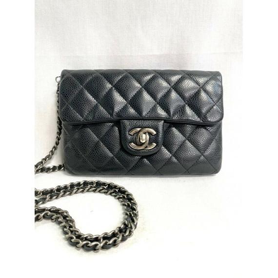 Chanel Black Caviar Crossbody Mini Wallet on Chain 2015 Entrupy Authenticated